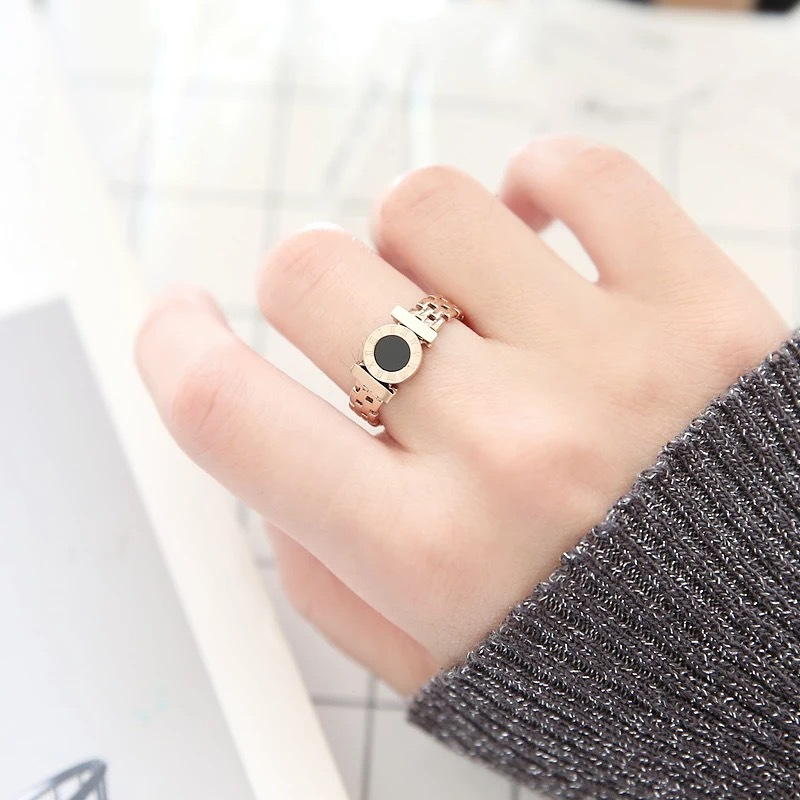 KNOCK Hot  Woman Rings Stainless Steel Black Roman Numerals  Rose Gold Color Hollow Out Rings Fashion Jewelry 4