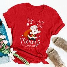 Забавная футболка с Санта Клаусом, Женская рождественская футболка с коротким рукавом и мультяшным принтом, базовая футболка, Рождественская женская футболка, топ, Camiseta Mujer
