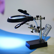 Third Hand Soldering Iron Stand Helping Clamp Vise Clip Magnifying Glass Repair Tool