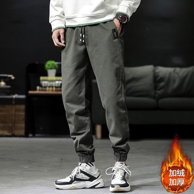 Trend Men Sports Pants Leisure Cotton Increase Down Trousers Youth Bound Feet Pant Hip Hop Harem Joggers Fit Sweatpants