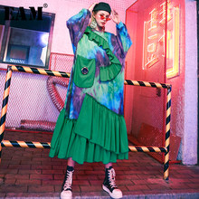 [EAM] Women Green Printed Ruffles Big Size Dress New Round Neck Long Sleeve Loose Fit Fashion Tide Spring Autumn 2019 1D794(China)
