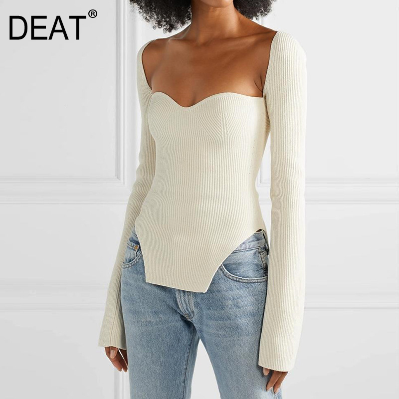 DEAT 2020 New Spring And Summer Fashion Women Clothes Cashmere Sqaure Collar Full Sleeves Elastic High Waist Sexy Pullover WK080