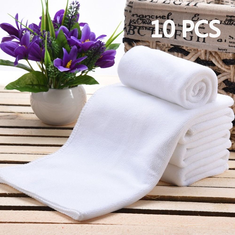 10PC White Soft Microfiber Fabric Face Towel Hotel Bath Towel Wash Cloths Hand Towels Portable Terry Towel Multifunctional Towel(China)