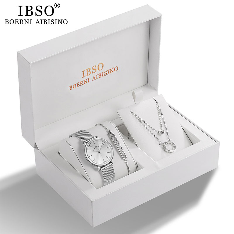 IBSO Women Quartz Watch Set Crystal Design Bracelet Necklace Watch Sets Female Jewelry Set Fashion Silver Set Watch Lady's Gift(China)