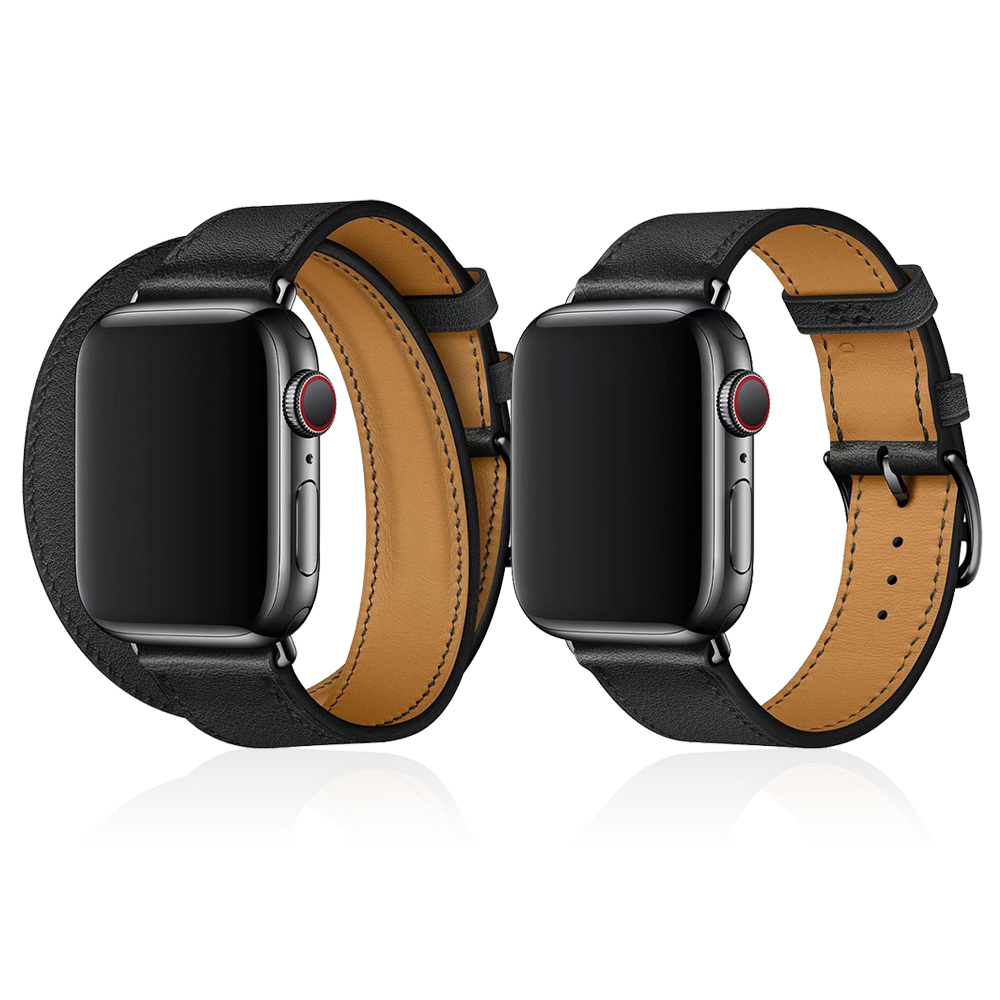 New Black Clasp Single Tour / Double Tour Leather Loop Band For Apple Watch 5 44mm 40mm Watchband For IWatch Series 4 3 2 Strap
