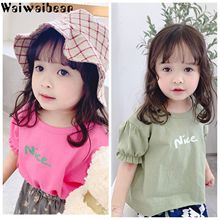 Waiwaibear Solid color T Shirt Baby Rose Red And Bean Green 100% cotton T-shirts Summer Tee Girls Tshirt Tops 19221