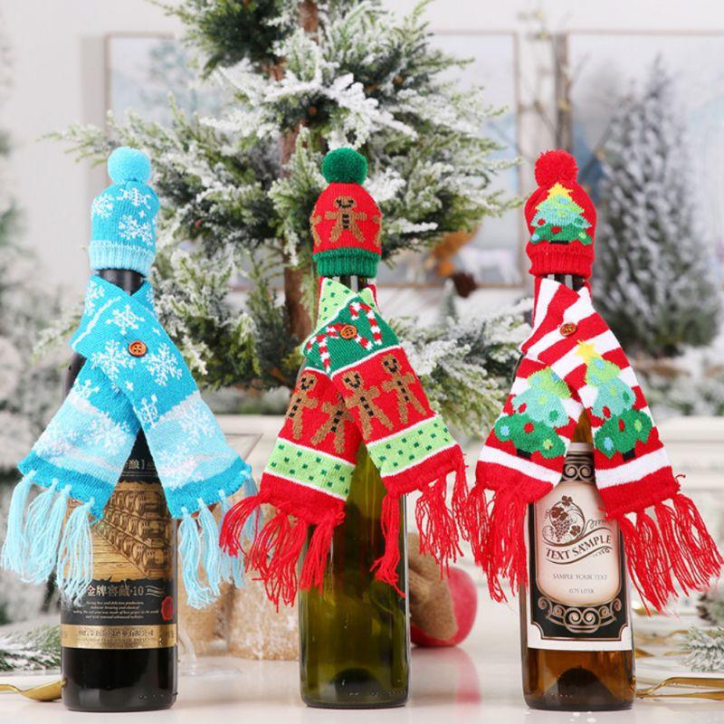 Рождественское вязаное покрытие для вина, украшение, крышка для бутылки вина, утепление, рождественские украшения для дома, Новогоднее укра...