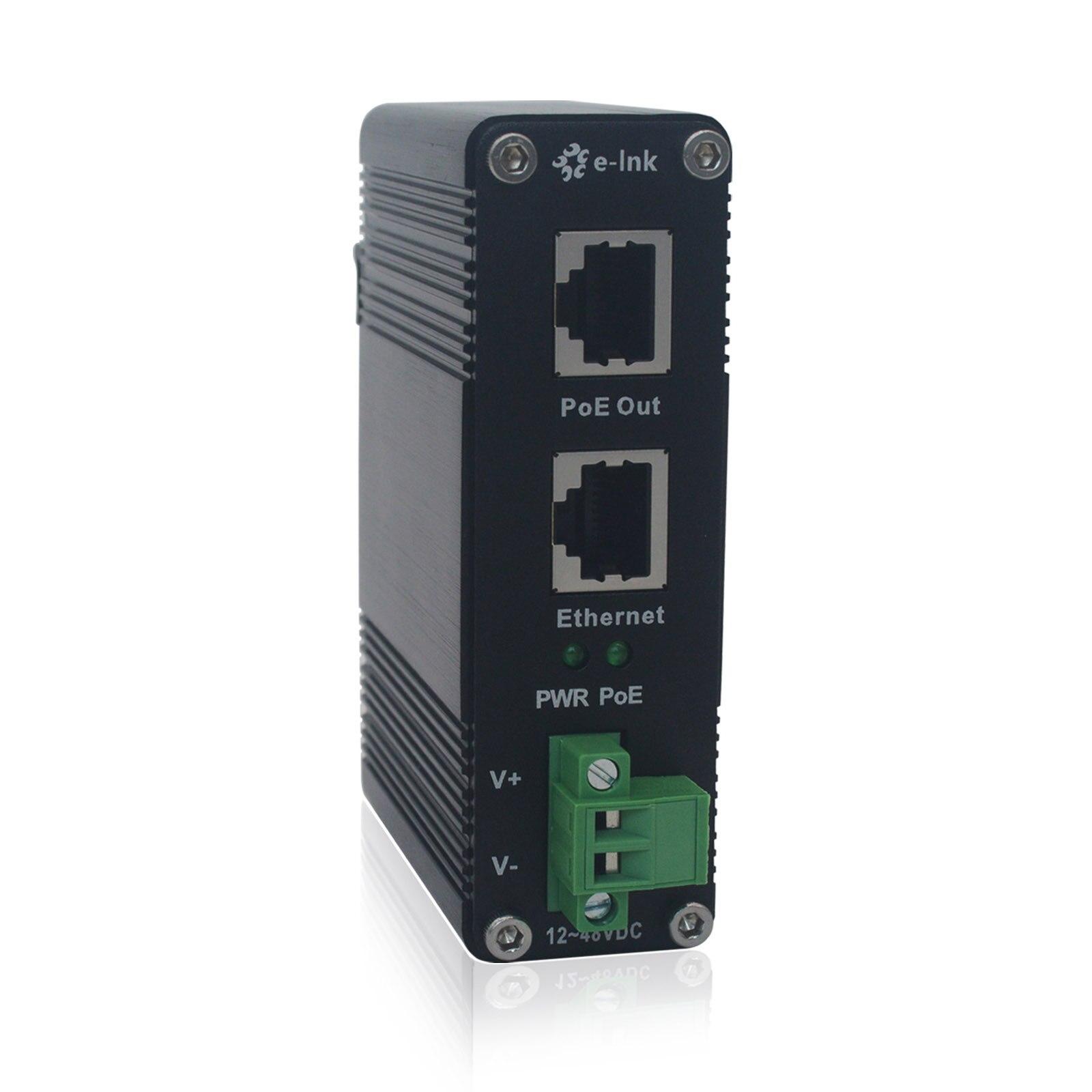 Industrial Power Over Ethernet Adapter Din-Rail 10/100/1000Mbps Gigabit PoE+ Injector With 12~48V DC Input