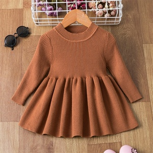 1 2 Years Baby Girls Long Sleeve Knitted Sweater Dress Autumn Winter Children Warm Clothing Kids Birthday Party Christening Gown(China)