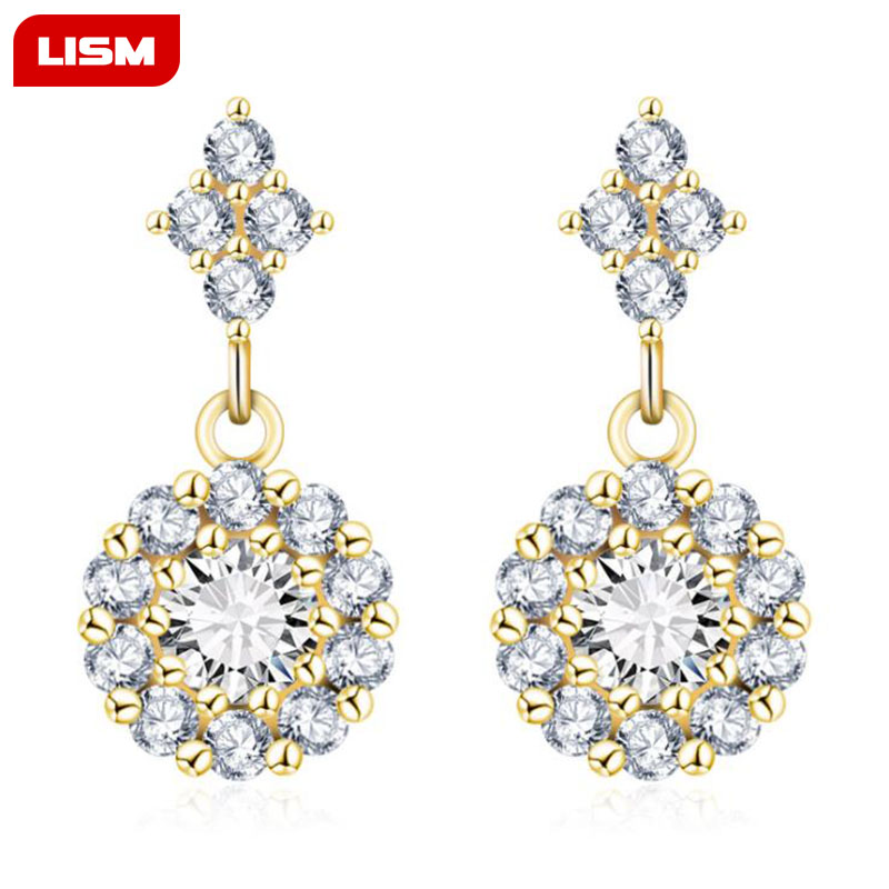 Round Flower Design AAA CZ Crystal Stud Earring for Wedding Romantic Jewelry for Women