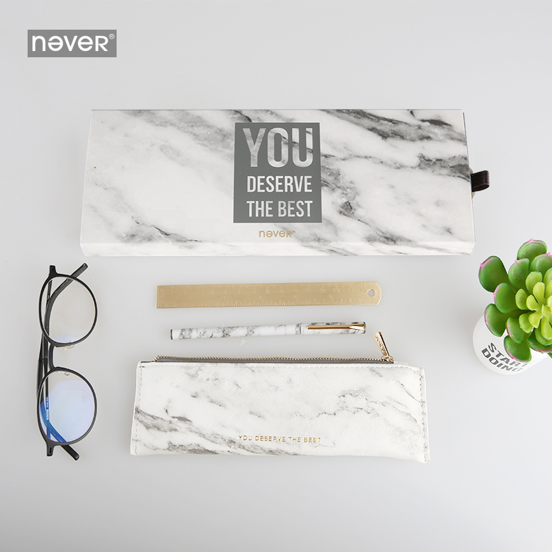 Never Marble Stationery Gift [Metal Pen & pencil case & Brass Ruler] Gift Box Combination Gift Set Stationary Set Stationery Set