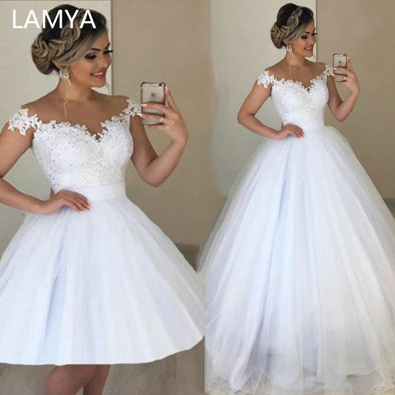 LAMYA 2 en 1 élégant dentelle perles robe de mariée romantique robe de bal robes de mariée détachable Tulle Vestido de Noiva 2 en 1