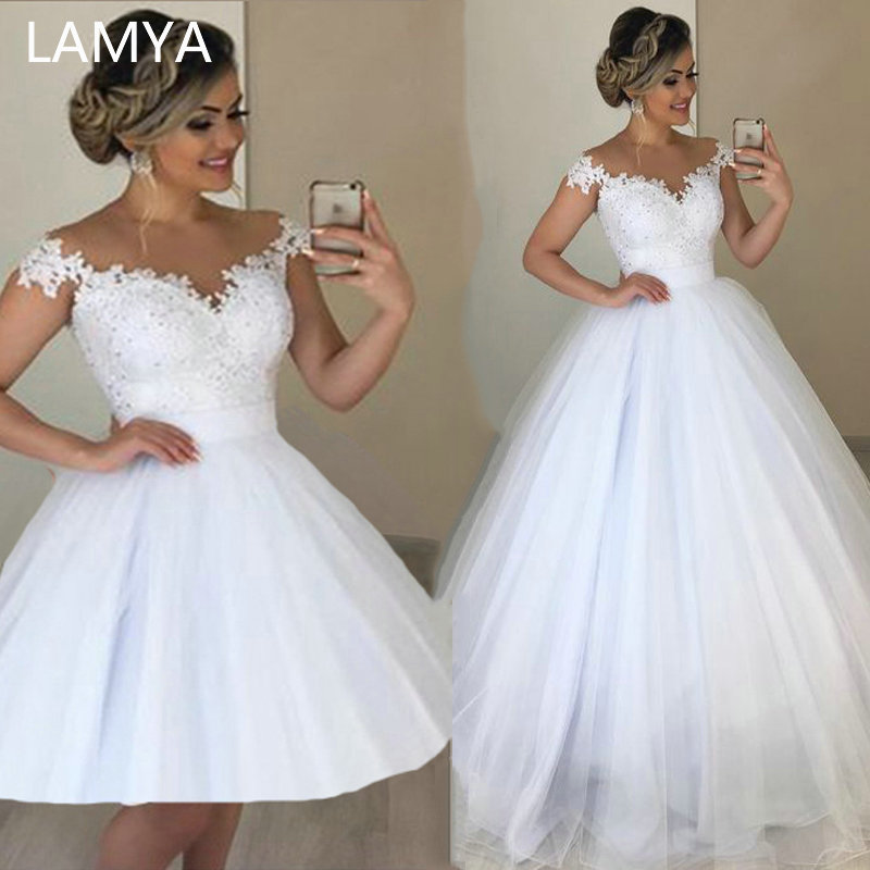 LAMYA 2 In 1 Elegant Lace Beads Bridal Dress Romantic Ball Gown Wedding Dresses Detachable Tulle Vestido De Noiva 2 En 1