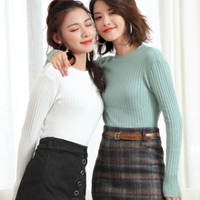 LHZSYY 2019 Autumn Winter New Womens Knitted Slim Bottoming shirt O Neck Sweater Solid Color Short Tight Warm Pullover Female