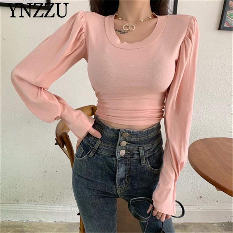 Spring Long sleeve T-shirt Women Casual 2020 New arrival Pleated Lantern sleeve O-neck Female Blouse Tops Fashion YNZZU YT790