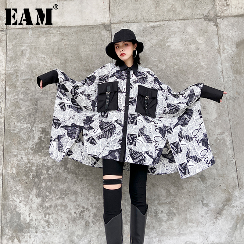 [EAM] Women Letter Printed Split Big Size Blouse New Lapel Long Sleeve Loose Fit Shirt Fashion Tide Spring Autumn 2020 1R65009