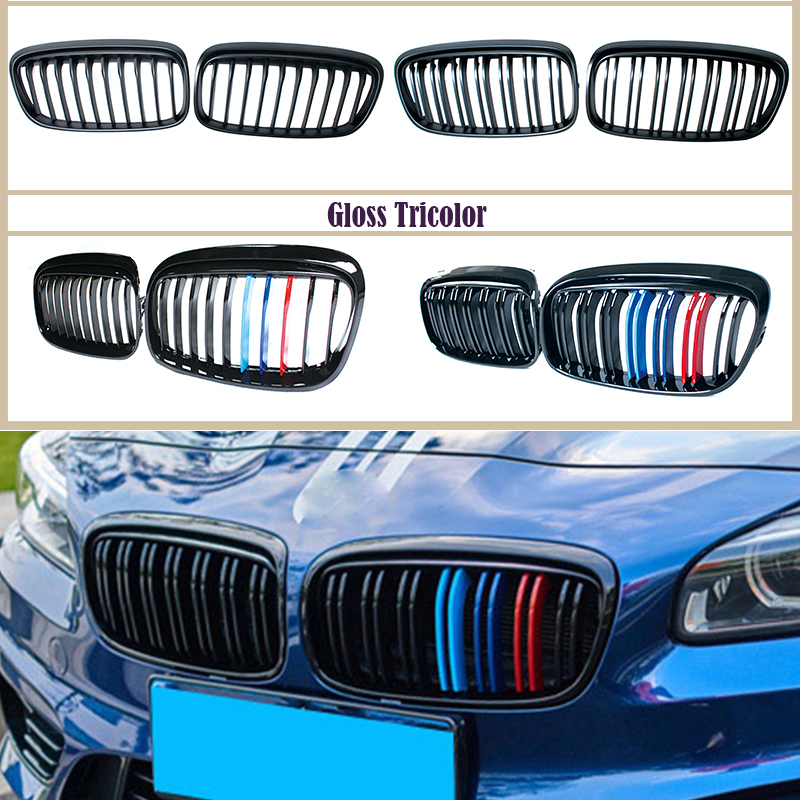 1 pair For BMW F45 F46 2 Series 220i 228i M2 GT 2015-2018 Carbon/Black ABS Kidney Grille Front Bumper Grill M Power Performance image