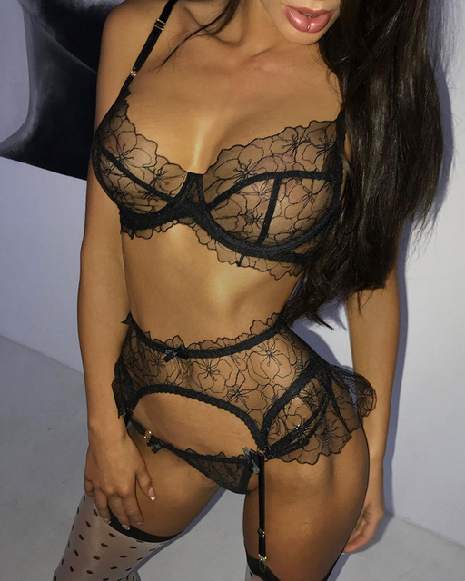 Sexy Black Ruffled Transparent Floral Lingerie Set 5