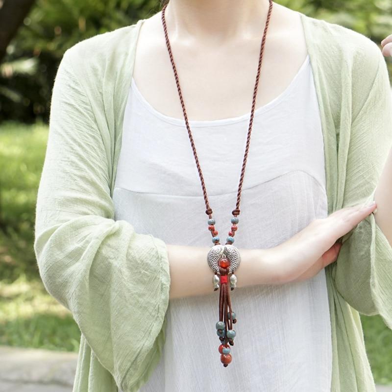 Ethnic Style Jewelry Tibetan Whitebait Pendant Ceramic Handmade Female Long Necklace Clothing Accessories Sweater Chain