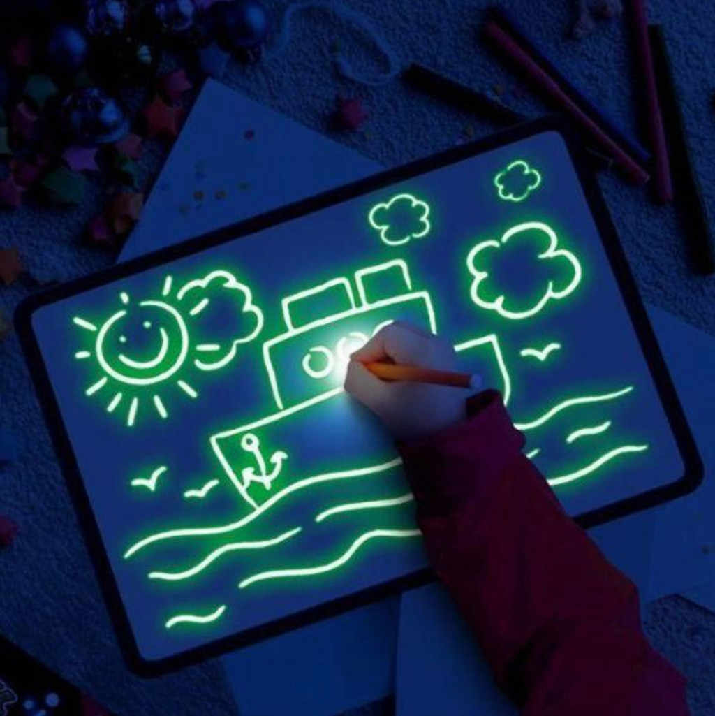 Glow Light Tablet Glowing Paint Drawing Pad With Light Writing Board Creative Art Magic Board Pad Children Clipboard Set gift 26
