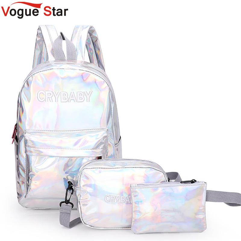 2020 Holographic Laser Backpack Embroidered Crybaby Letter Hologram Backpack Set School Bag +shoulder Bag +penbag 3pcs L172
