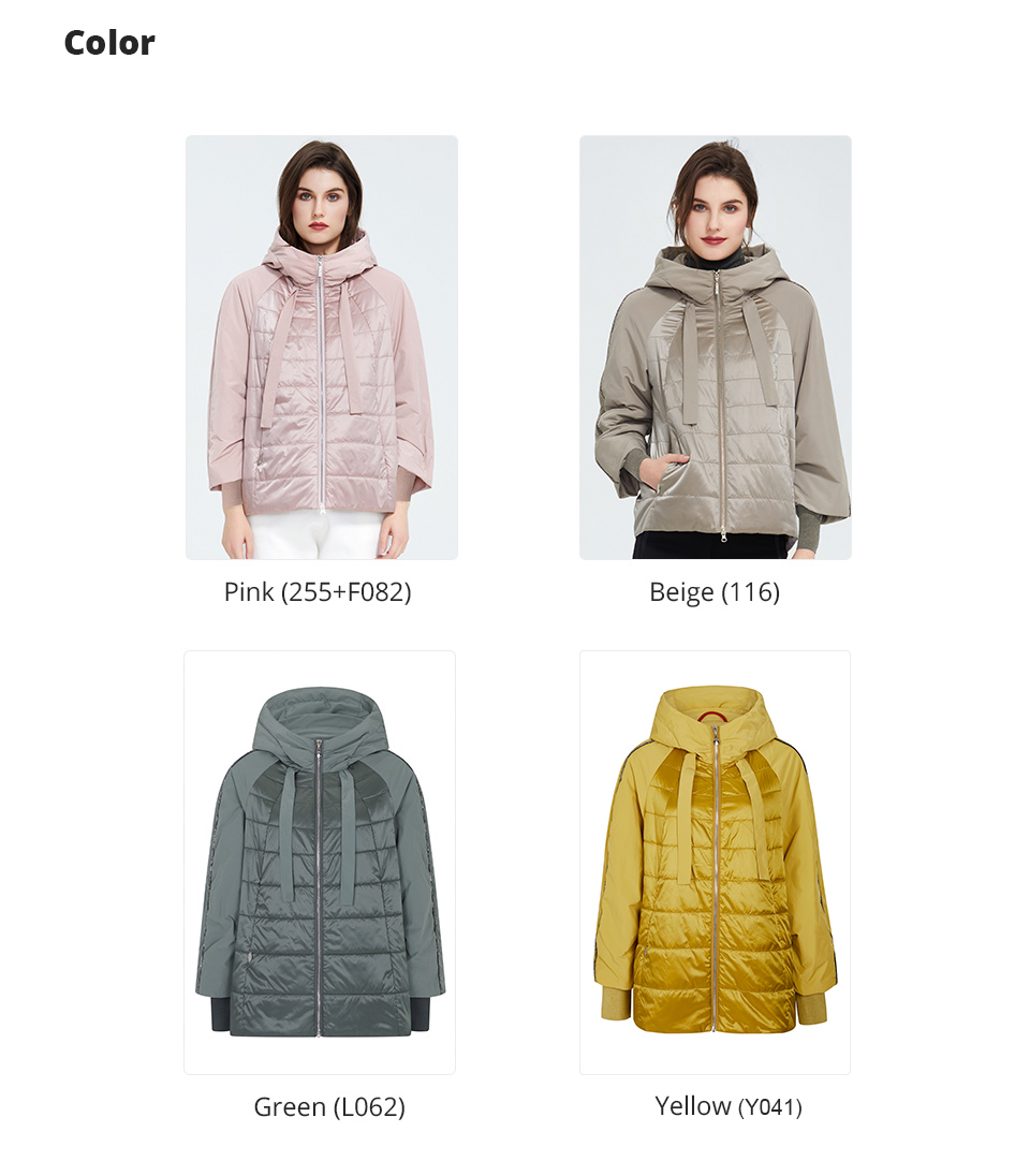 different colors of jacket - pink and beige