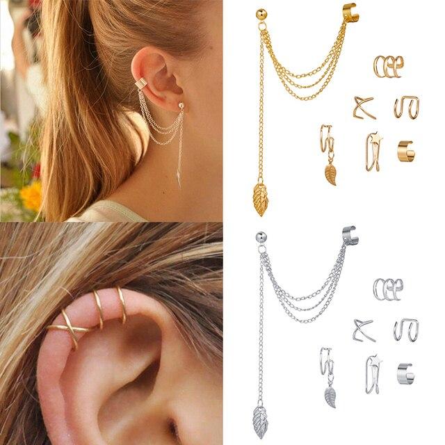 7 pçs moda estrela de ouro folhas não-piercing orelha clipe brincos para mulheres simples falso cartilagem orelha manguito jóias clipe acessórios 1