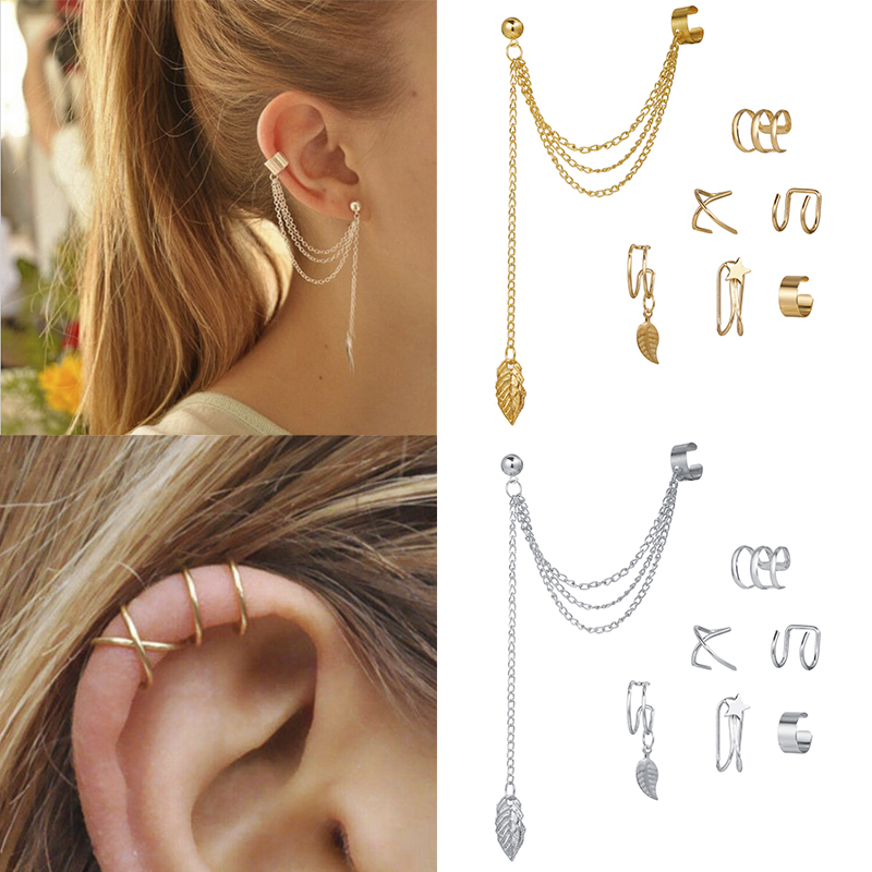 7 Uds. De pendientes de Clip para la oreja, sin perforación, con hojas de estrella dorada, para mujeres, accesorios de joyería para el cartílago falso Simple