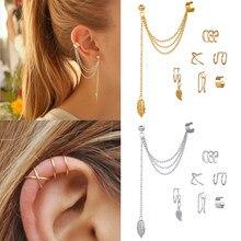 7 sztuk moda złota gwiazda liście non-piercing klips do ucha kolczyki dla kobiet proste fałszywe chrząstki biżuteria z nausznikami akcesoria klips