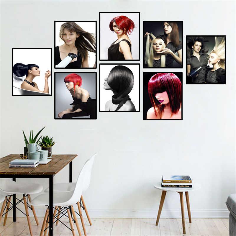 Berber yeni saç şekillendirici güzellik salonu resimleri duvar dekor boyaması saç Salon sanat moda saç posteri ve baskılar HD0987