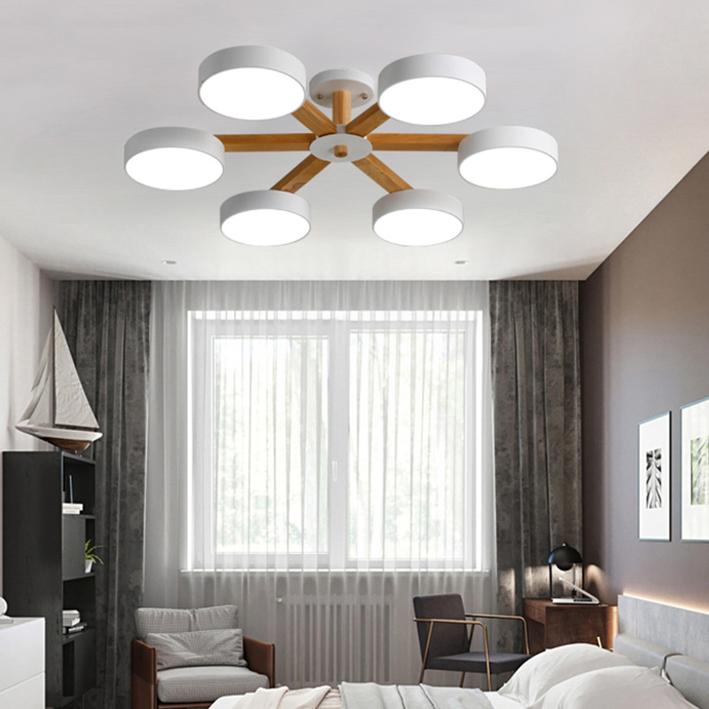 Nordic Simple Dimming Wooden Stand & Disc Lampshade 220 V Ceiling Chandelier Kitchen Bedroom Living Room Dining Room Hotel Room