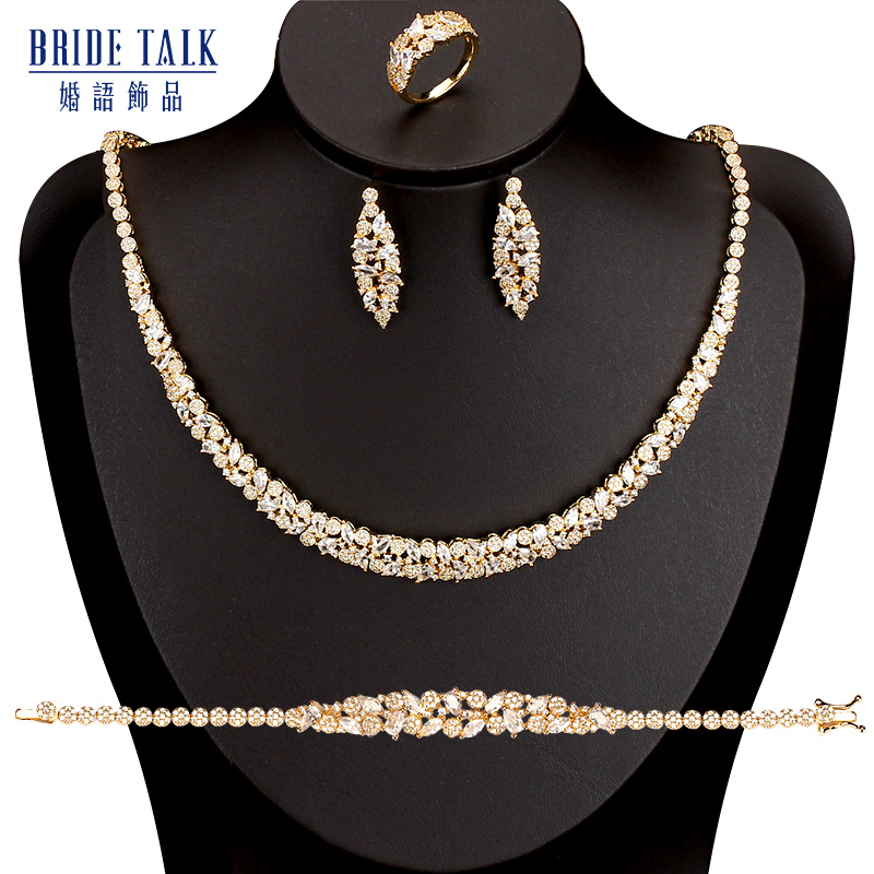 Bride Talk Luxury Charms Wedding Jewelry Sets For Women Full Cubic Zirconia Necklace Earrings Bracelet Ring Dress Accessories
