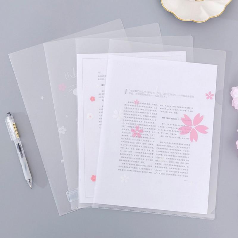 1 Pcs Kawaii Cute L Style A4 Sakura Transparent Binder File Folder Insert Folder Document Filing Clip Stationery