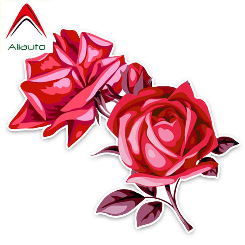 Aliauto jolies fleurs voiture autocollants charmant rouge Rose décor vinyle décalcomanie pour Mazda 6 Peugeot 206 Land Rover Opel, 15cm * 13cm