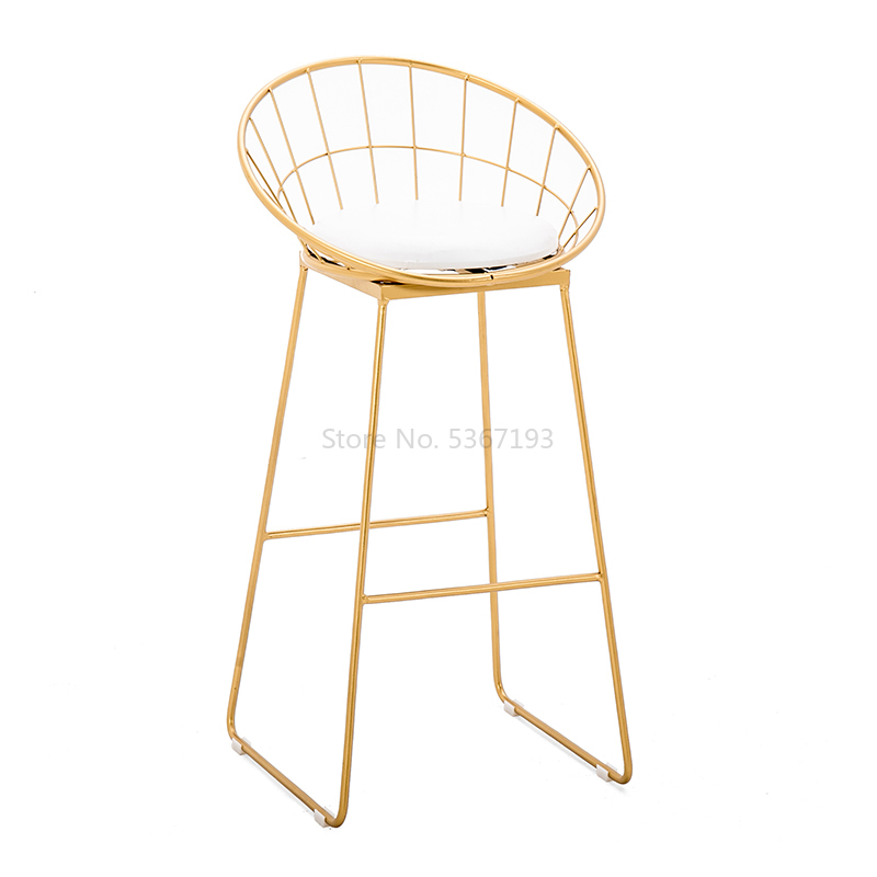 Light Luxury Bar Chair Simple Net Red Bar Stool Front Coffee Restaurant Leisure Back High Stool Bar Chair  Commercial Furniture