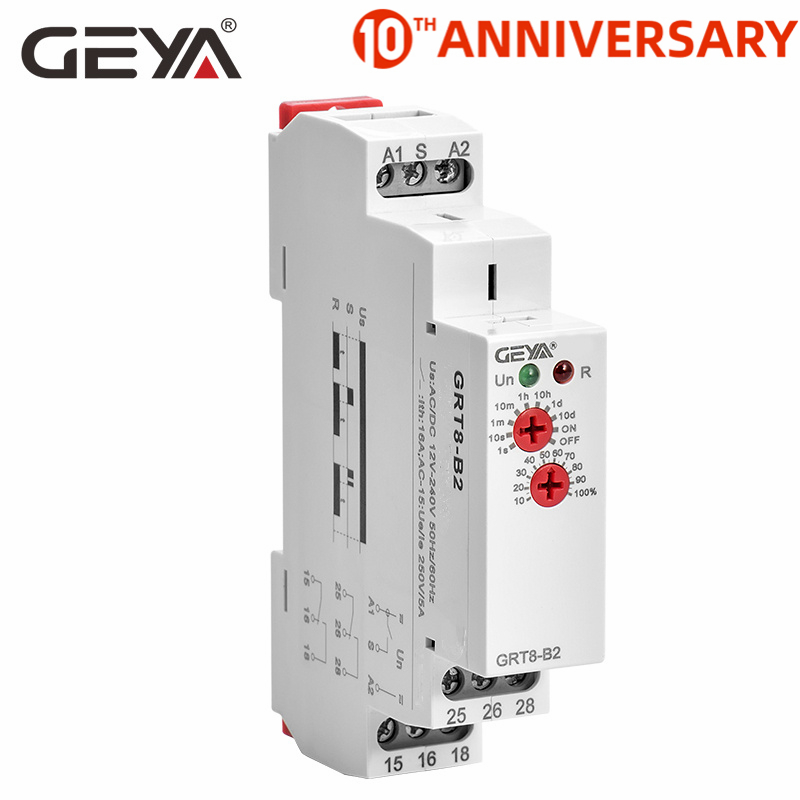 Free Shipping GEYA GRT8-B Off Delay Time Relay Electronic 16A AC230V OR AC/DC12-240V with CE CB Certificate(China)
