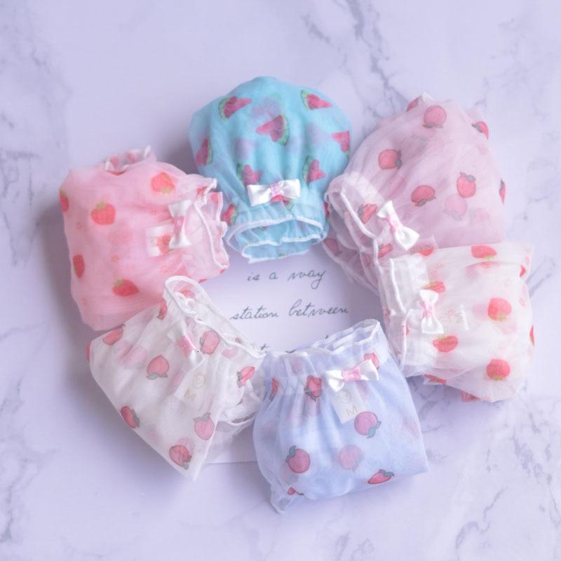 SP&CITY Cute Colorful Fruits Print Mesh Sexy Panties Women Transparent Underwear Thin Ruffles Edge Girl Briefs Female Lingerie