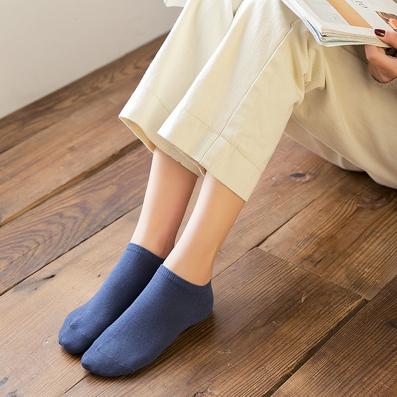 Sock Slippers Pure Cotton Sweat-absorbent Boat Socks Ladies Invisible Cotton Deodorant Japanese Simple Socks Female 2020 Spring