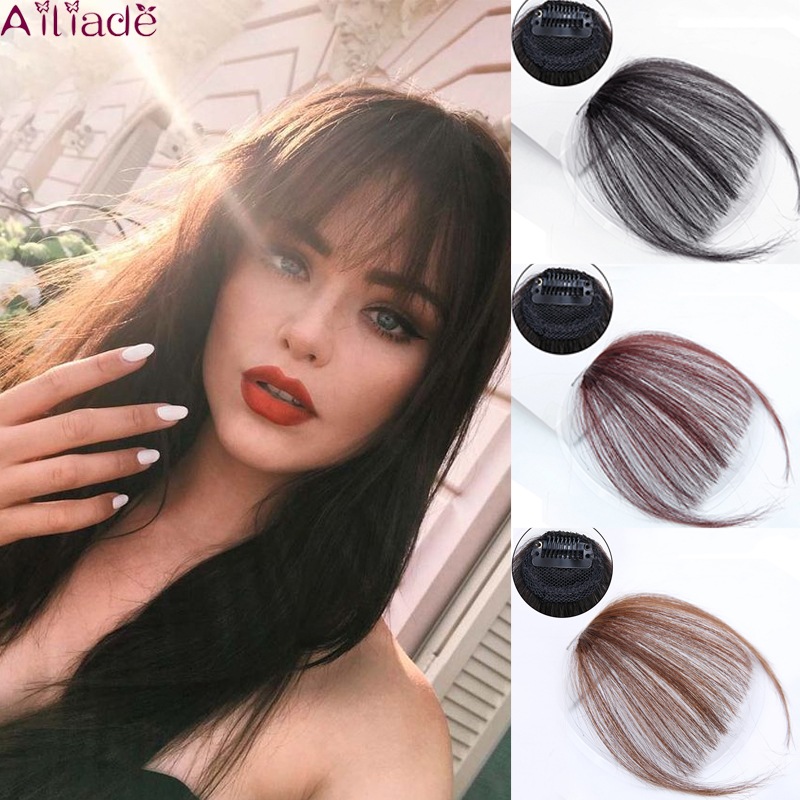 AILIADE Fringe Bangs Hairpieces For Women Hair Extension Synthetic Bangs Straight Piece Clip On Clip In Front Hair Bangs Wigs