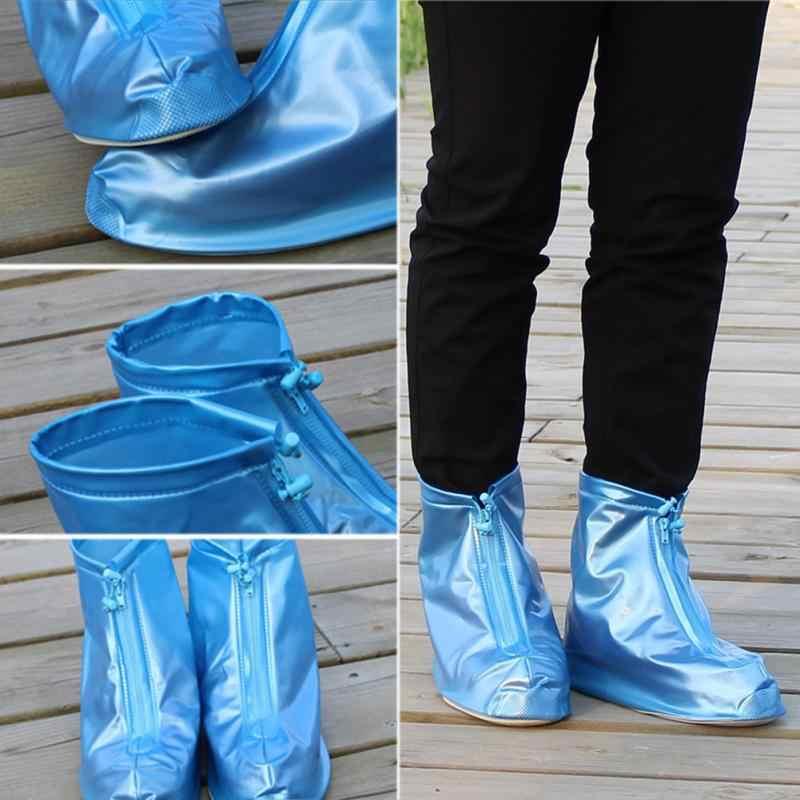 Üst! -Unisex yağmur su geçirmez botlar kapak topuklar çizmeler yeniden ayakkabı kapakları kalın kaymaz Platform yağmur botu-mavi L