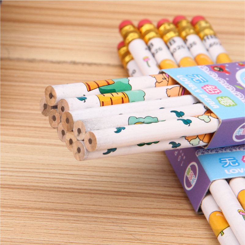 10pcs Kawaii AnimeWooden <font><b>HB</b></font> <font><b>Pencil</b></font> Ordinary <font><b>Pencil</b></font> Student Writing Drawing Sketch <font><b>Pencil</b></font> With Eraser School Office Supply image