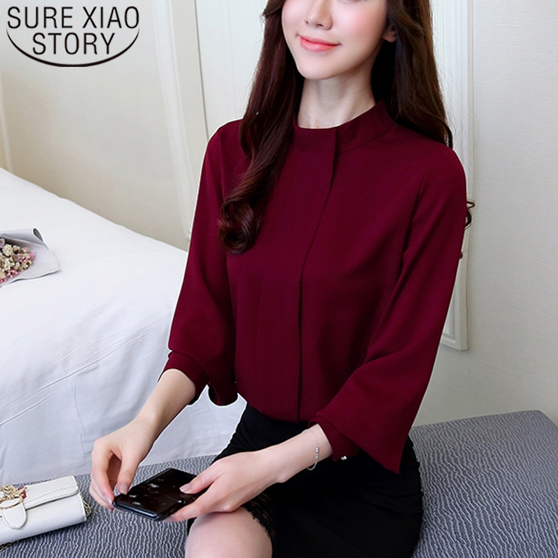 New Fashion 2020 Women Blouses Shirts Long Sleeve Plus Size Women's Clothing Red Office Lady Shirt Feminine Tops Blusas D208 30