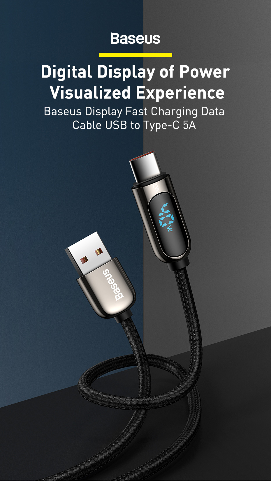 Baseus Display Fast Charging Data Cable USB to Type-C 4