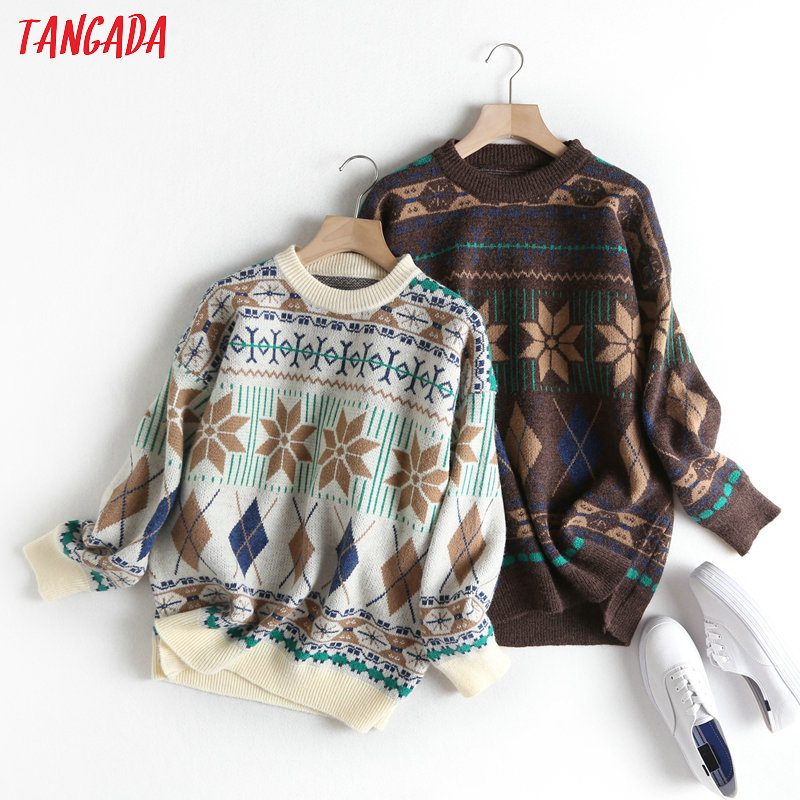 Tangada Women School Style Snow Flower Jumper Sweater 2019 Atumn Winter Fashion Long Sleeve Knitted Pullovers Tops  BC57