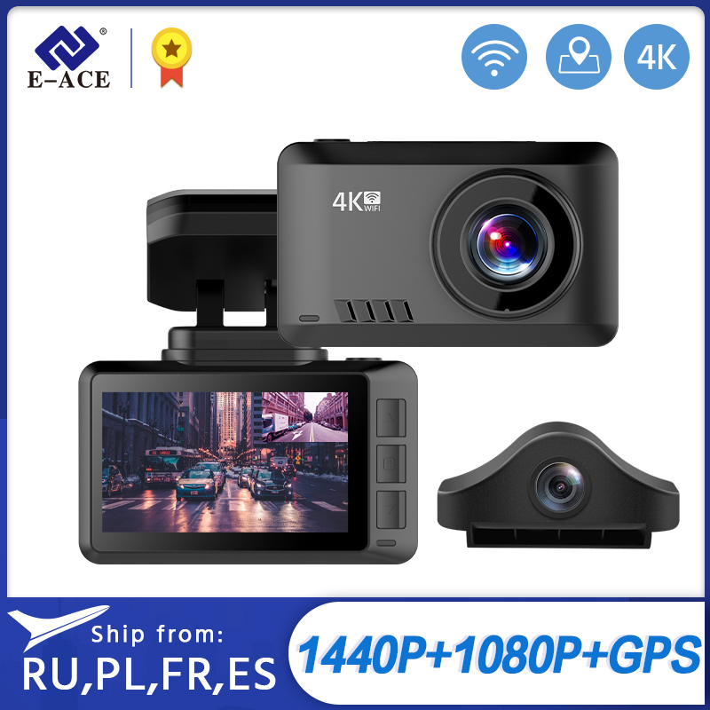 E-ACE B44 Car Camera 4K Dash Cam GPS Track WiFi Car DVR Dashcam Sony IMX335 Sensor Night Vision Recorder 1