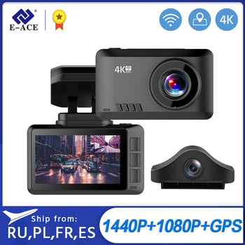 E-ACE B44 Car Camera 4K Dash Cam GPS Track WiFi Car DVR Dashcam Sony IMX335 Sensor Night Vision Recorder 1