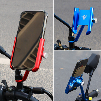 YPAY Aluminum Bicycle motorcycle Phone Holder rearview bracket adjust Motorcycle phone stand bike handlebar phone support Mount