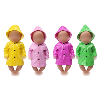 43 cm Baby dolls clothes hooded waterproof raincoat American newborn dress toys fit 18 inch Girls doll f539