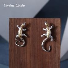 Timeless Wonder Brass Lizard Stud Statement Earrings Fancy Jewelry Christmas Gifts for Women Gothic Black Boho 5338
