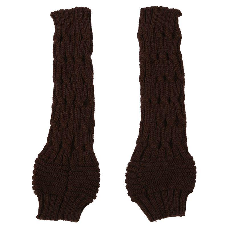 Oversleeve Knitted Braided Gloves Warmest Fingerless Gloves Mittens(Coffee)